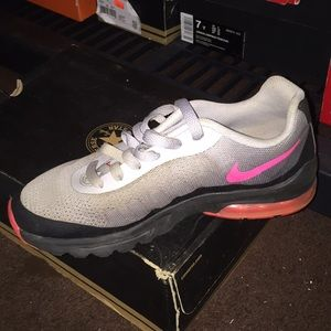 Pink black and gray Nike airs